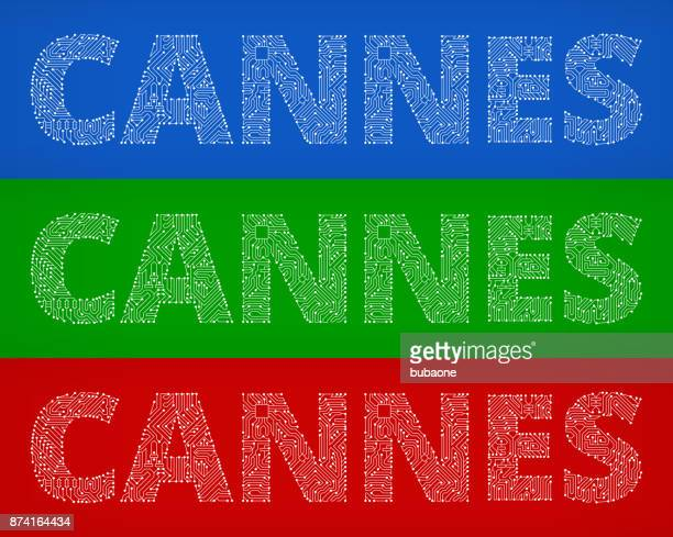cannes circuit board color vector backgrounds - cannes stock illustrations, clip art, cartoons, & icons