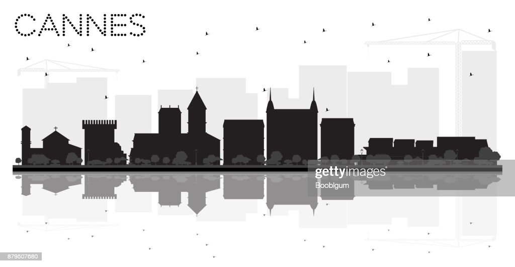 Cannes France City skyline black and white silhouette with Reflections.