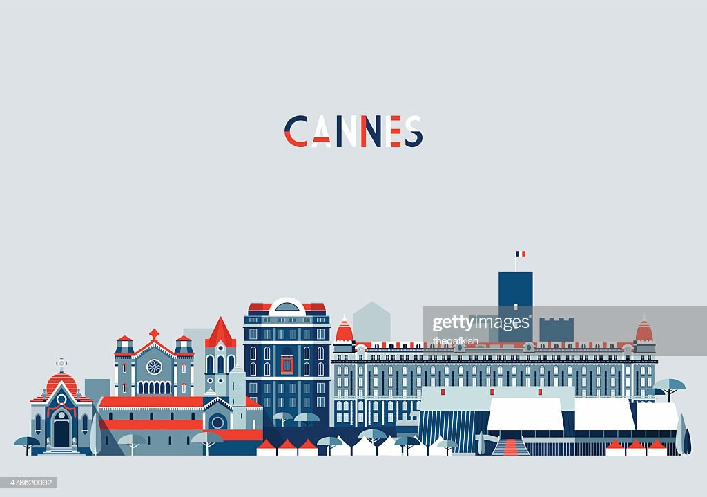 Cannes France City Skyline Vector Background Flat