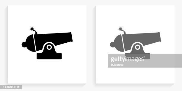 キャノン黒と白の正方形のアイコン - 大砲点のイラスト素材/クリップアート素材/マンガ素材/アイコン素材