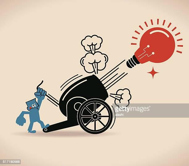 キャノンファイアリング、ビジネスマン射撃ビッグアイデア電球はキャノン - 大砲点のイラスト素材/クリップアート素材/マンガ素材/アイコン素材