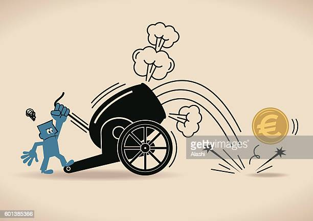 cannon firing, businessman shooting euro coin from cannon (downfall) - shooting a weapon stock illustrations, clip art, cartoons, & icons