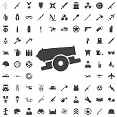 Cannon, war, weapon icon vector image.