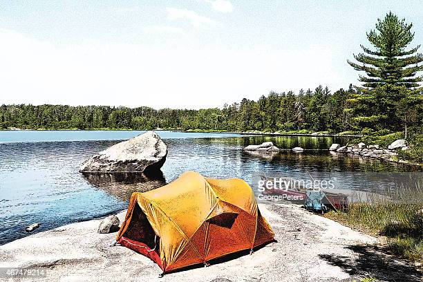 Canoe Campsite On Wilderness Lake
