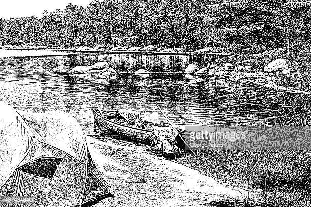 canoe campsite - boundary waters canoe area stock illustrations