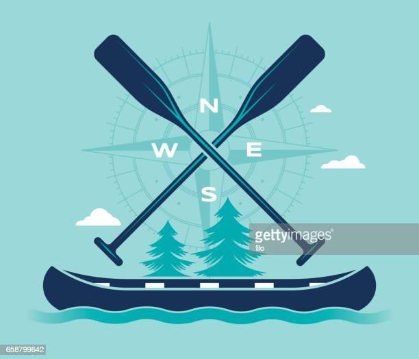 Canoe Compass Summer Adventure Symbol