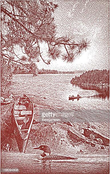 canoe, lake and loon - boundary waters canoe area stock illustrations