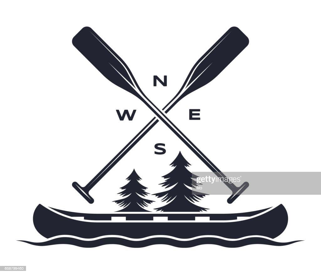 Canoe Oar Adventure Symbol : stock illustration