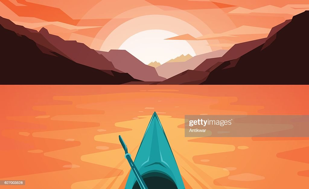 Canoe on Lake. Sunset.