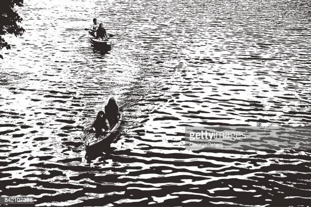 Canoeing on a beautiful lake