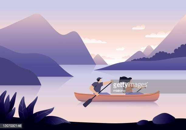 illustrations, cliparts, dessins animés et icônes de canoë - voyage