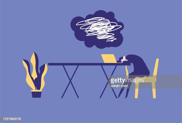 can't find inspiration at work, work is exhausted - exhaustion stock illustrations