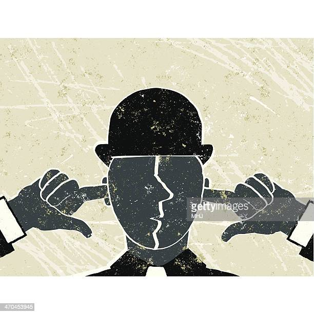 i can't hear you! businessman with fingers in ears - ignoring stock illustrations