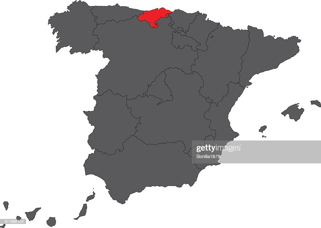 Cantabria red map on gray Spain map vector