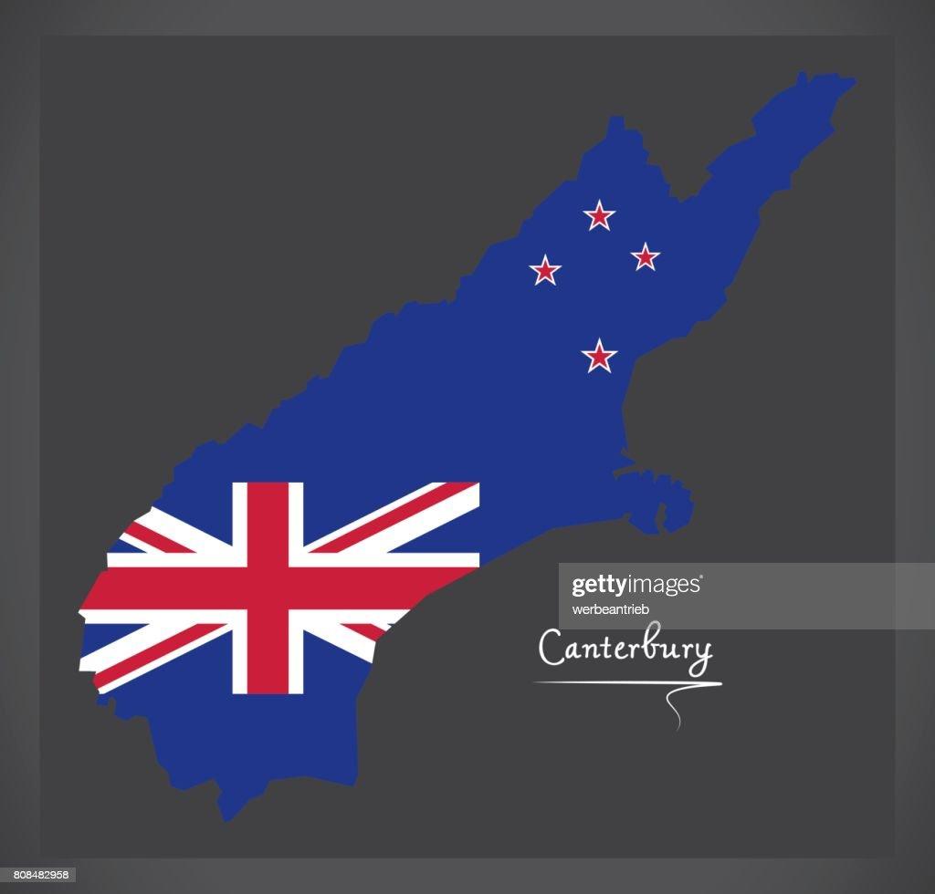 Canterbury New Zealand map with national flag illustration