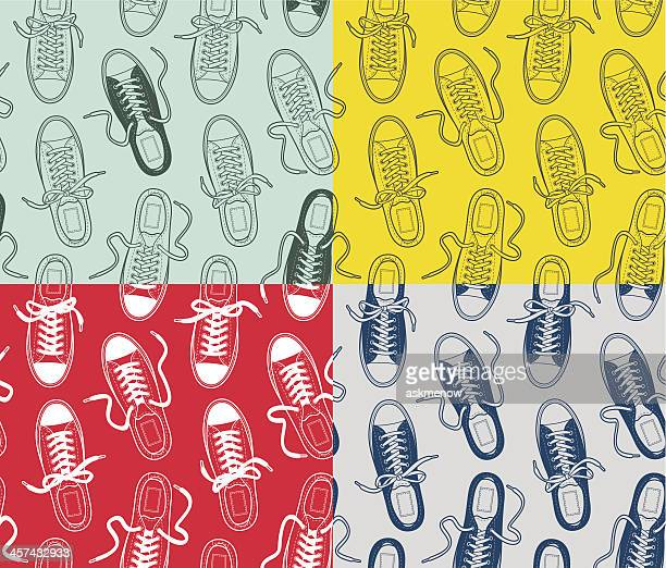 Canvas gumshoes seamless patterns