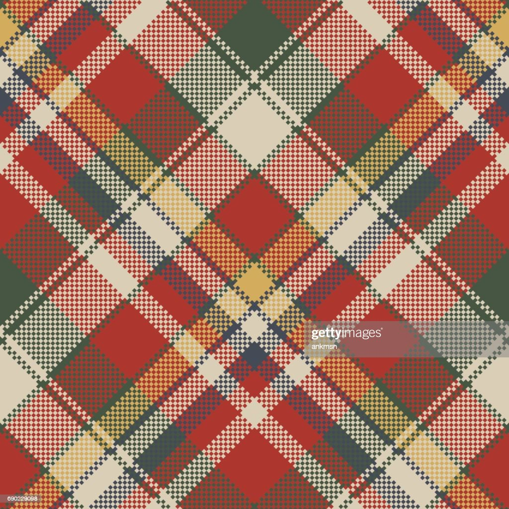 Canvas pixel plaid seamless fabric texture