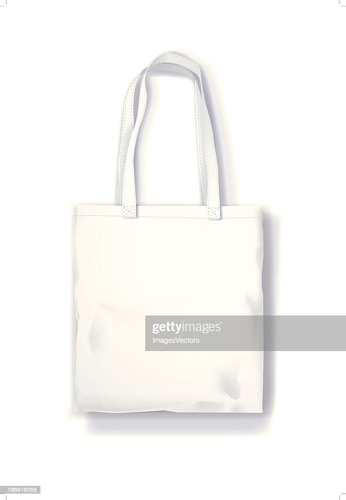 Canvas tote bag isolated on the white background