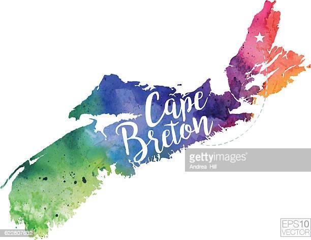 cape breton, nova scotia vector watercolor map - cape breton island stock illustrations, clip art, cartoons, & icons