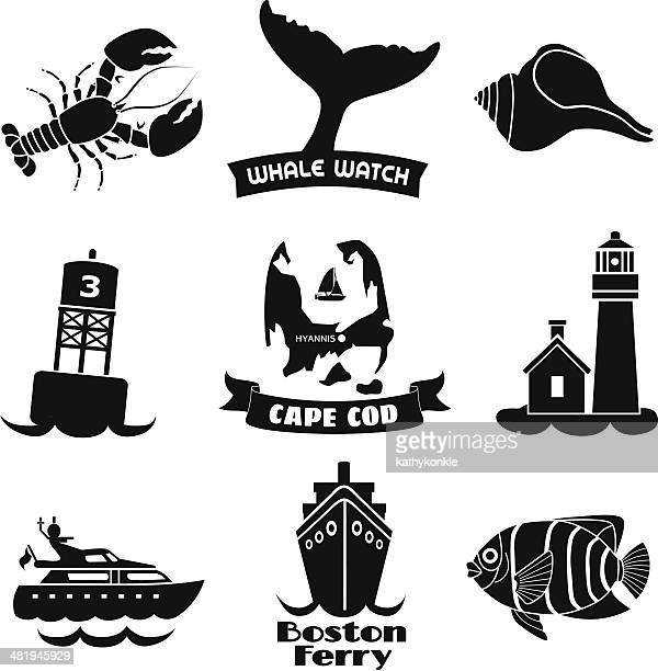 cape cod icons - buoy stock illustrations, clip art, cartoons, & icons