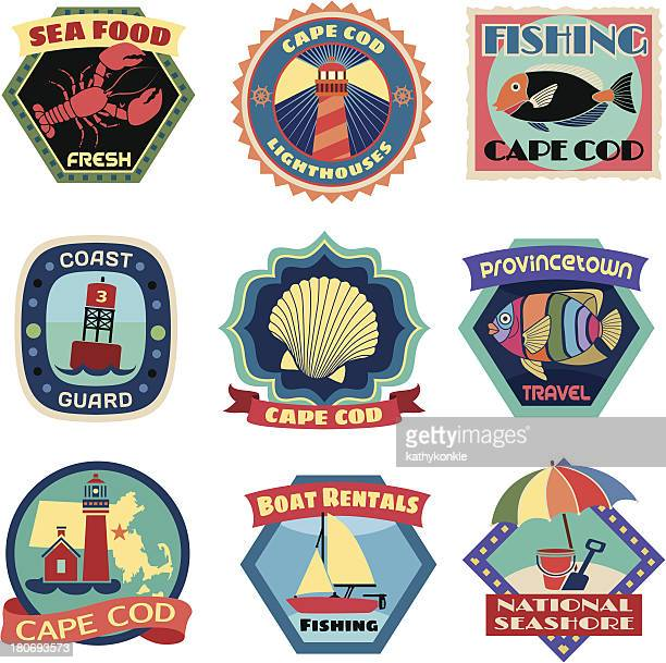 cape cod luggage label or travel stickers - motorboating stock illustrations, clip art, cartoons, & icons