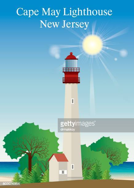 cape may lighthouse - cape may stock illustrations