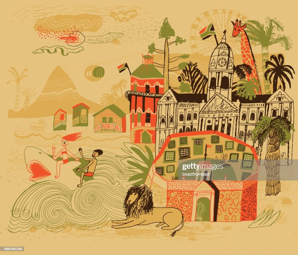 Cape Town in South Africa : stock illustration