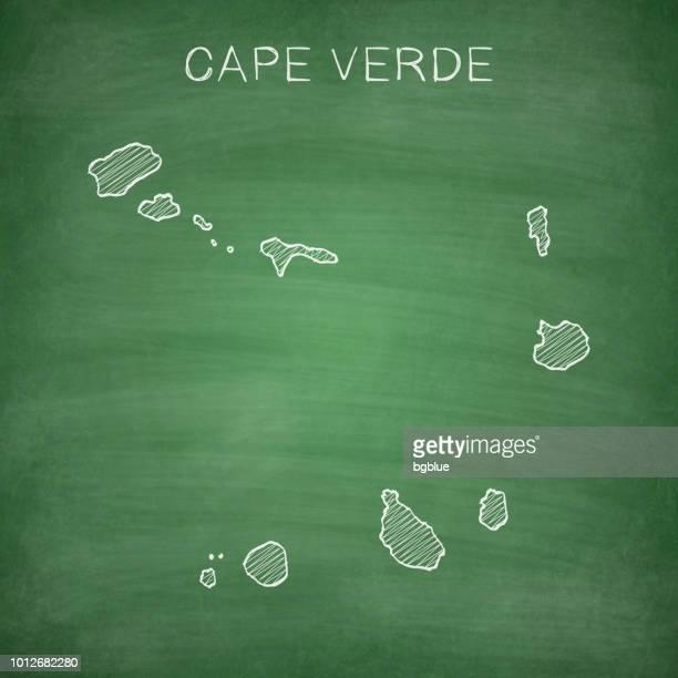 ilustrações, clipart, desenhos animados e ícones de cabo verde mapa desenhado na lousa - blackboard - cabo verde
