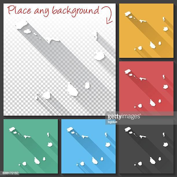ilustrações, clipart, desenhos animados e ícones de cape verde map for design, long shadow, flat design - cabo verde