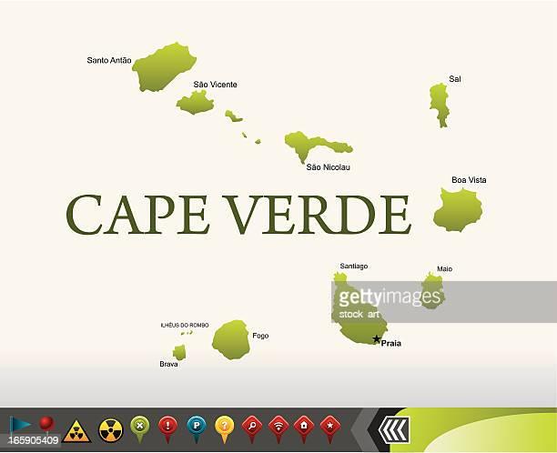 ilustrações, clipart, desenhos animados e ícones de cabo verde mapa com ícones de navegação - cabo verde