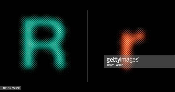capital and lower case letter r (neon half tone set) - letter r stock illustrations