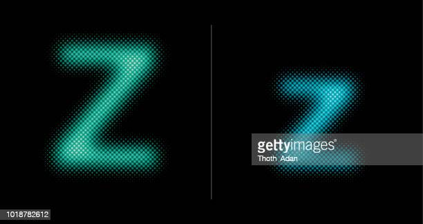 Capital and lower case letter Z (Neon half tone set)