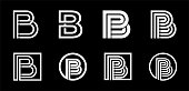 Capital letter B. Modern set for monograms, logos, emblems, initials. Made of white stripes Overlapping with shadows.