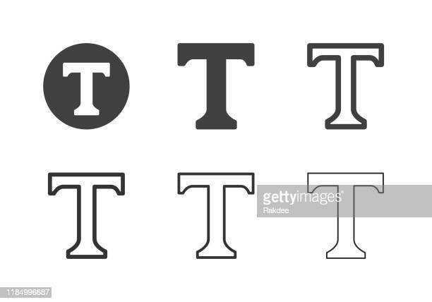 ilustrações de stock, clip art, desenhos animados e ícones de capital letter t icons - multi series - letra t