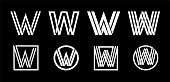 Capital letter W. Modern set for monograms, logos, emblems, initials. Made of white stripes Overlapping with shadows.