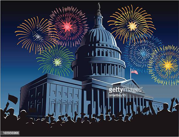 capitol building at night with fireworks - bill legislation stock illustrations