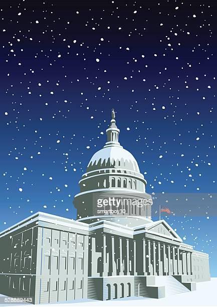 capitol in der weihnachtszeit - senat stock-grafiken, -clipart, -cartoons und -symbole