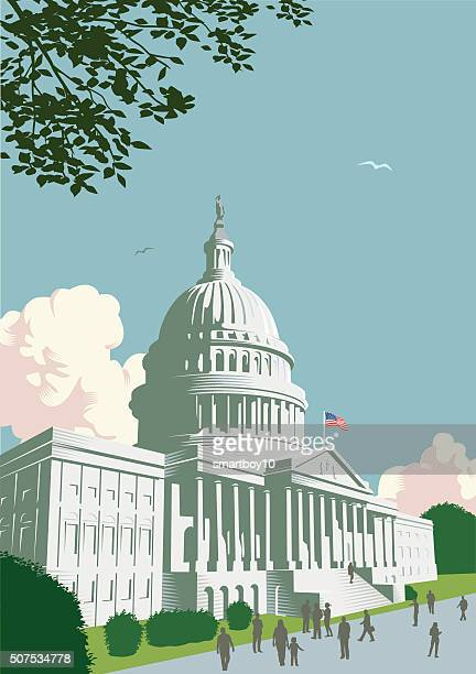 capitol building in washington dc - president stock illustrations, clip art, cartoons, & icons