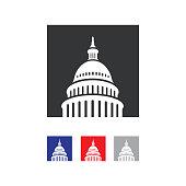 Capitol building logo. Landmark graphic creative sign.