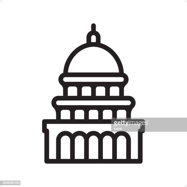 Capitol Building - Outline Icon - Pixel Perfect