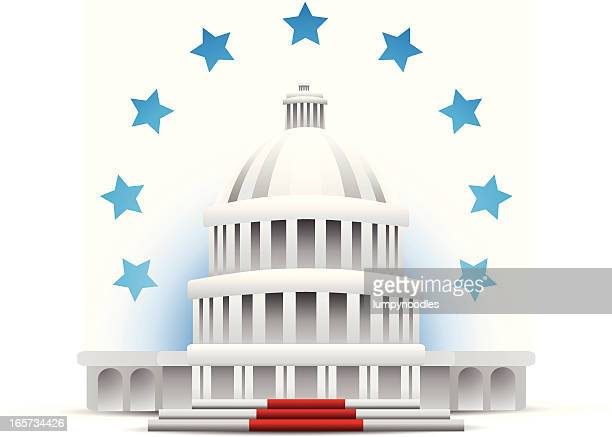 Capitol building surrounded by blue stars