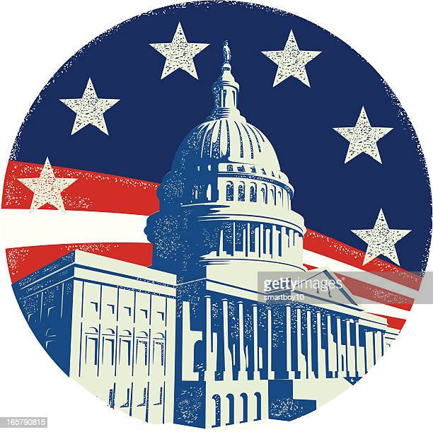 capitol building with stars and stripes - house of representatives stock illustrations
