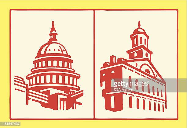 capitol buildings - architectural dome stock illustrations, clip art, cartoons, & icons