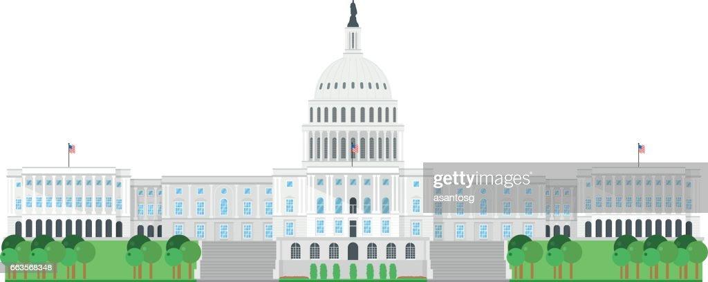 Capitol House, Washington, USA. Isolated on white background vector illustration.