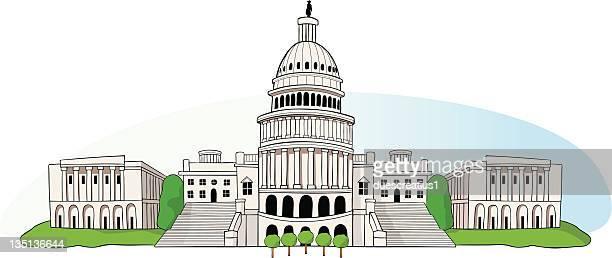 us capitol in washington dc - senate stock illustrations