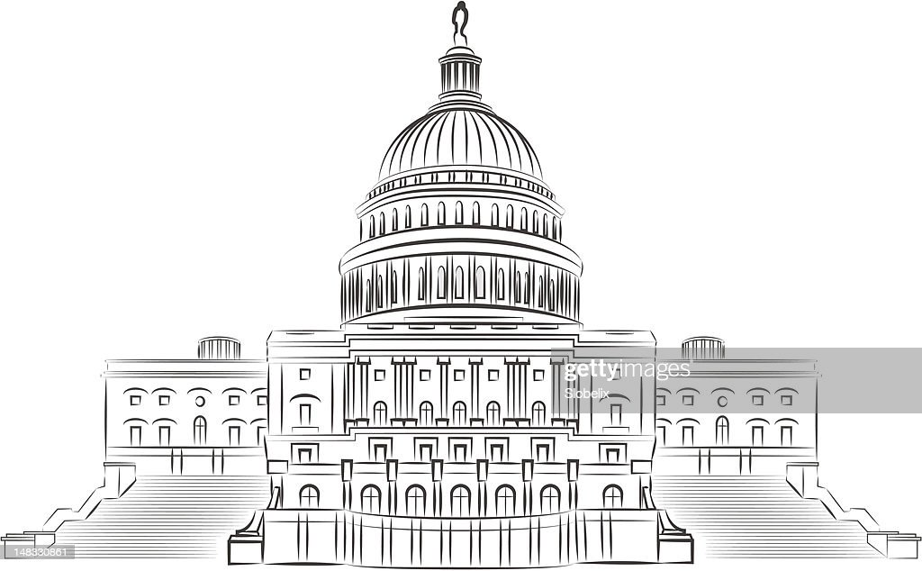 Capitol outline vector illustration