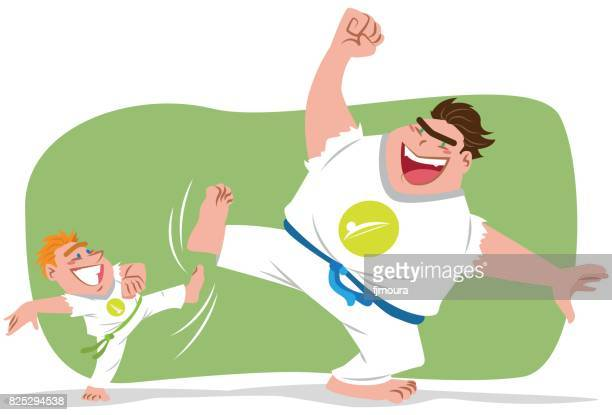 ilustrações de stock, clip art, desenhos animados e ícones de capoeira entre pai e filho - capoeira