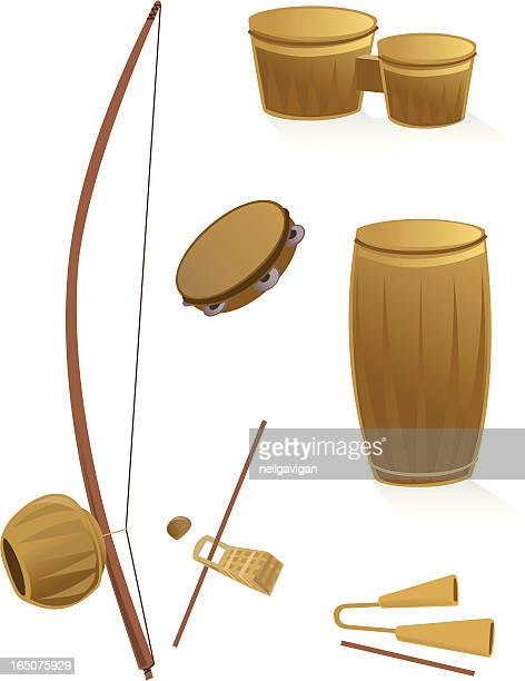 ilustrações de stock, clip art, desenhos animados e ícones de capoeira percussão insruments - capoeira