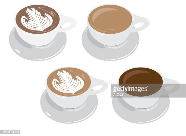 cappuccino and coffee - saucer stock illustrations