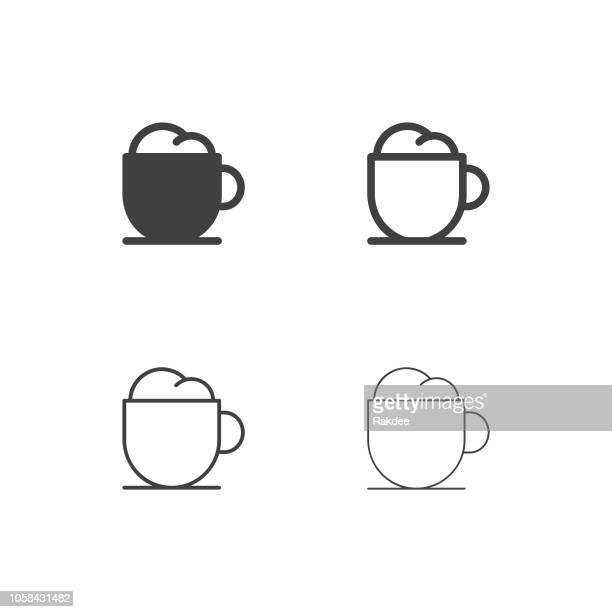 cappuccino icons - multi series - whipped food stock illustrations, clip art, cartoons, & icons